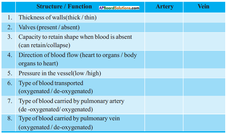 AP SSC 10th Class Biology Solutions Chapter 3 Transportation – The Circulatory System 14