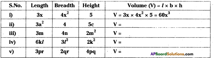 AP Board 8th Class Maths Solutions Chapter 11 Algebraic Expressions Ex 11.1 3