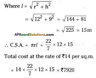 AP Board 9th Class Maths Solutions Chapter 10 Surface Areas and Volumes Ex 10.3 2