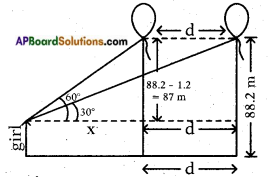AP SSC 10th Class Maths Solutions Chapter 12 Applications of Trigonometry Optional Exercise 1