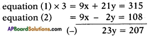 AP SSC 10th Class Maths Solutions Chapter 4 Pair of Linear Equations in Two Variables Optional Exercise 5