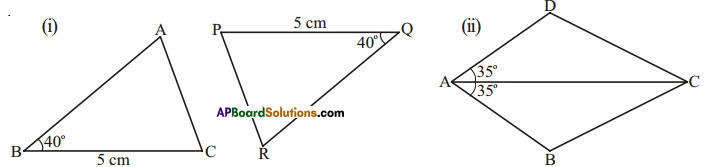 AP Board 7th Class Maths Solutions Chapter 8 Congruency of Triangles Ex 2 7