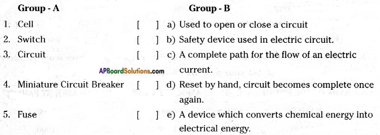 AP Board 7th Class Science Solutions Chapter 7 Electricity - Current and Its Effect 11